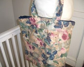 Rose Print Market Bag/Travel Tote