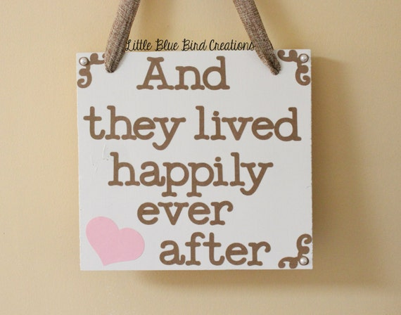 Wood wedding sign - and they lived happily ever after - fairytale wedding - wedding decor - photography prop