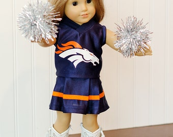 American Girl Doll Super Bowl Denver Broncos cheerleader outfit with Pom poms