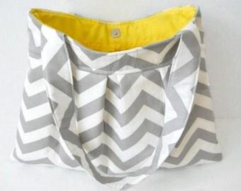 Gray Chevron Purse Handbag Diaper Bag Grey Twill Storm Zig Zag Made to Order