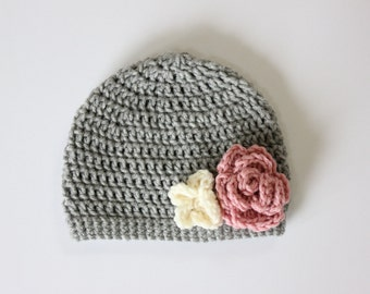 Baby Girl Crochet Flower Hat, Gray Hat with Pink and Cream Flowers, Toddler Baby Hat