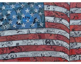 Captain America Flag Print 11x17