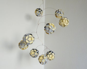 Hanging mobile, Kinetic decor, Paper balls mobile,Light grey and light yellow,Nursery room decoration, Home decor
