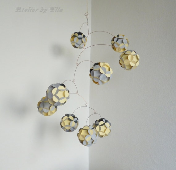 Hanging mobile kinetic decor paper balls by atelierbyella on etsy - Hanging paper balls decorations ...