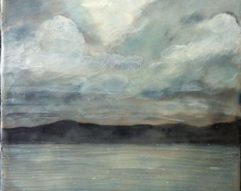 from the ferry - 6x6 - original encaustic painting- peaceful, impressionist, landscape, seascape, clouds, ocean
