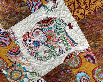 Modern Patchwork Quilt featuring Indian Elephants