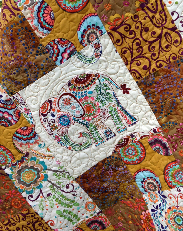 Modern Patchwork Quilt Featuring Indian Elephants