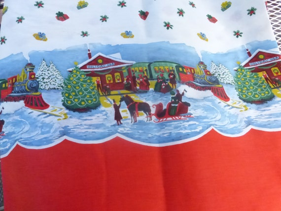 Vintage christmas train border print fabric 5 plus yards for Train print fabric