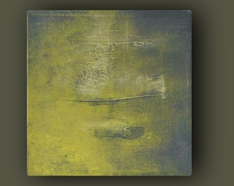 Yellow Gray Painting - ORIGINAL ABSTRACT Painting - TEXTURED Acrylic on Canvas - Modern small Fine Art - 8x8 art