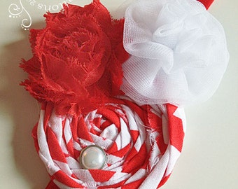 Red & White Headband -  Girls or adult Headband - Boutique style - Shabby Chic - Photo Prop