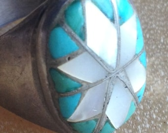 Large Vintage Native American Handmade Sterling Silver Zuni Channel Inlay Ring
