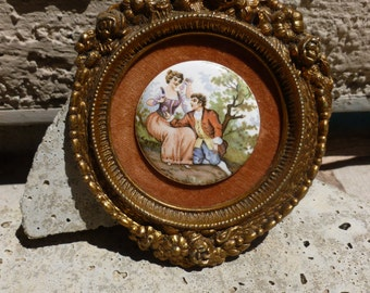 A Little Romance Vintage Brass Rose Edged Cameo Picture Frame