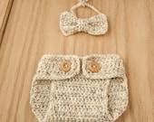 baby bowtie, crochet baby photo prop, baby boy bowtie, crochet diaper cover
