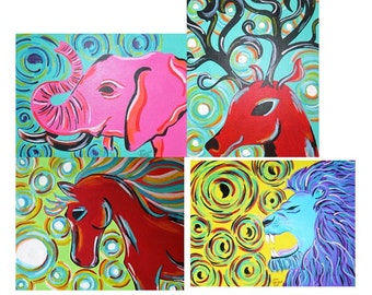 Custom Animal Painting, Acrylic Painting, Animal Artwork, Colorful Animal Art, Animal Wall Decor, Colorful Gift Idea, Made to Order Art
