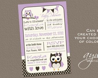 Owl Baby Shower Invitation Chevron Unique Owl Baby Shower Owl Invitations Polka Dots Owl Printable Invitation Printable Baby Shower Owl Girl