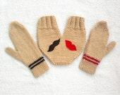 Knitted lovers gloves set, for him and her, smitten, in light brown with lip and mustache appliques, valentines day gift, gift for couples