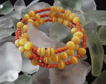 Vintage 60's Bracelet Glass Beads ORANGE YELLOW MOD