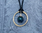 Blue Swarovski Pearl and Silver Ring Necklace