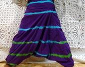 100% Organic Cotton Vibrant Teal Harem Pants with Hand Block Print-Yoga Wear, Lounge Wear, Dance Wear, Spacious, Beautiful Colors