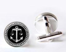 Mens Cufflinks, Anchor Cufflinks, Nautical Cufflinks, Silver Cufflinks