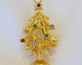 Christmas Tree Charm Vintage Gold Tone Textured Metal Blue Red Green Multi Color Rhinestones Dimensional Xmas Gift Present Holidays 1960s