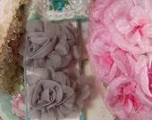 Gray Fabric Flowers, Craft Flowers, Scrapbook Flowers, Paper Craft Flowers, Gray, Romantic Flowers, Embellishments, Flowers, Shabby Style