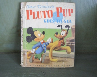Vintage  Pluto Pup goes to Sea, Little Golden Book, Disney