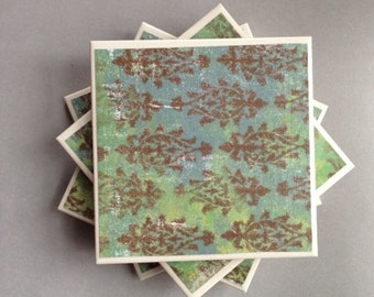 Coasters Green, Blue, and Brown Pattern, Felt-Backed, Tile Set of Four