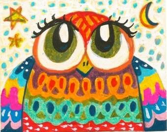 Whimsical Owl Print, Owl Art, Whimsical Animal Art, Childrens Room Decor, Nursery Room Art, Owl Wall Art, Baby WInter Owl  by Paula DiLeo