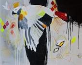 "16 x 20"" Animal Bird Parrot Fluorescent Bright Gray Black Original Painting on Canvas by Julie Roberston"