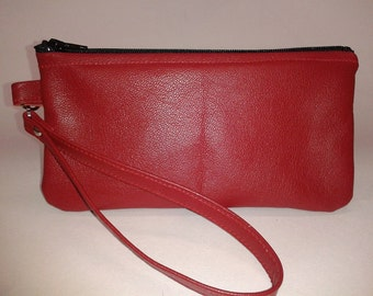 Handmade -Deep Red Leather Wristlet - Limited Edition Color