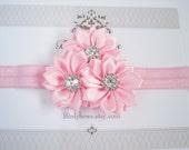 Light Pink Satin Flowers Headband, Baby Headbands, Newborn Headbands, Infant Headbands, Baby Girl Bow, Infant Hair Bow,