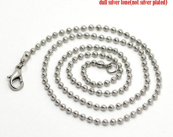 4 of 20 inches antique silver finish ball chain necklaces-7557