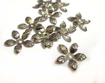 30pcs bendable gunmetal finish flower bead caps-6813