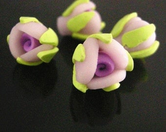 6pc LILAC Handmade Polymer Clay Flower Beads-2233