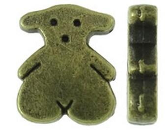 15pc 11x9mm antique bronze finish bear beads-8484