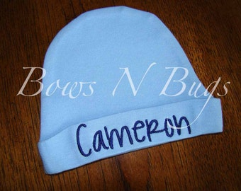 Monogrammed Newborn Infant Blue Layette Cap / Hat For Boys - Perfect for Baby Gifts