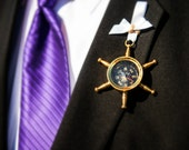 Nautical Wedding Compass Boutonniere, Groom & Groomsmen Lapel Wear