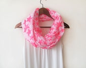 Neon İnfinity Scarf, Star Pattern, Soft Cotton, Spring Trends,  Loop Scarf, Scarves, Circle Scarf, Women Accessory