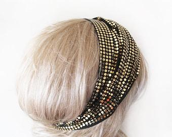 Gold  Point Womens Headband, Stretchy  Hair Wrap, Yoga  Headband Women's Fashion Hair Accessory