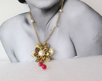Handmade Necklace,  Flower, Ottoman Jewelry,  Vintage-Style, TURKISH embroidery, Jewelry Accessories