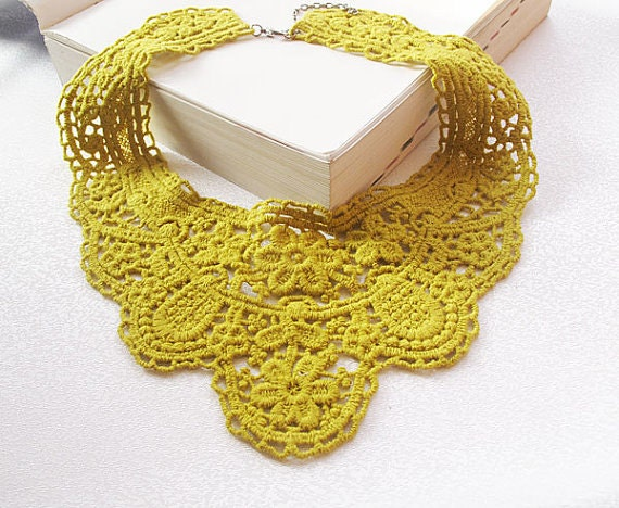 mustard yellow lace collar necklace-romantic  lace collar- fashion Lace collar necklace
