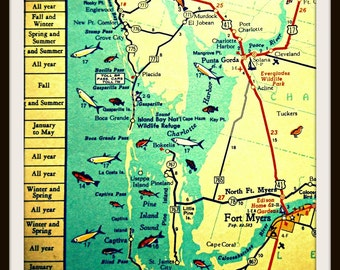 Map Art, Gifts for Him Punta Gorda Boca Grande Port Charlotte retro Florida travel him gift Ft Myers illustrated aqua yellow fish travel him