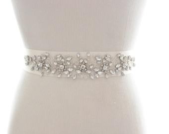 Rhinestone Crystal Bridal Sash, Crystal Wedding Belt, Rhinestone Belt, Crystal Sash