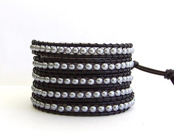 Pearl Beaded Leather Wrap Bracelet - Grey Pewter Pearls, Black Leather- Classically Chic