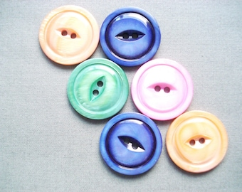 Vintage Glass Pearlized Buttons - 6 Glass Cats Eye Buttons - 6 Blue Glass Wafer Buttons