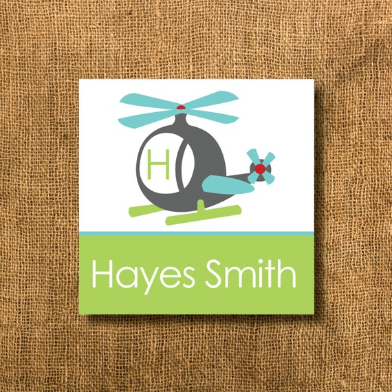 Helicopter Boy Gift Tags or Calling Cards, Helicopter Gift Tags, Sibling Gift Tags