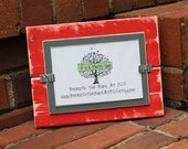 Picture Frame - Holds a 4x6 Photo - Distressed Wood - Red & Gray
