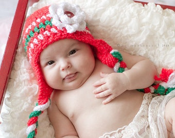 Holiday Cute as a Button Hat with three flowers- Made to Order- Any Size