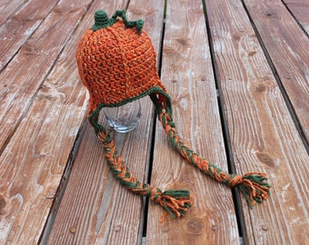 Pumpkin Crocheted Earflap HAT ONLY- Made to Order- Any Size